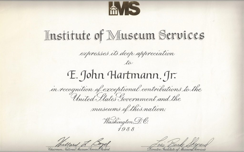 Institute of Museum Services recognition
