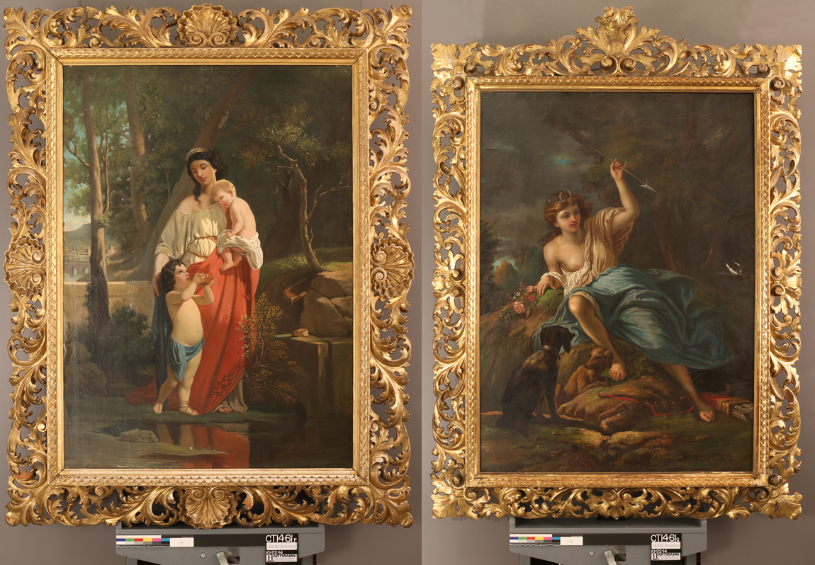 Two large ornate gilt frames with 18th c. French School paintings ...